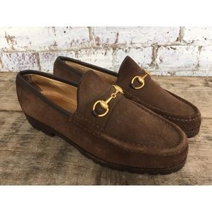 Gucci new horsebit brown suede loafers sz 8
